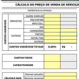 Planilha cálculo do preço de venda de serviços - Sebrae